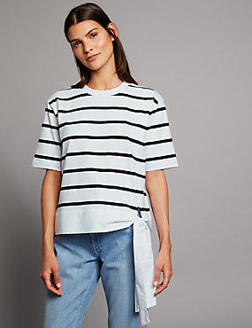 Pure Cotton Striped Tie Side T-Shirt