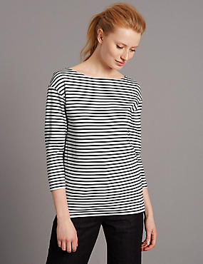 Striped Slash Neck 3/4 Sleeve Jersey Top
