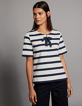 Pure Cotton Striped Tie Detail T-Shirt