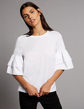Pure Cotton Flared 3/4 Sleeve T-Shirt