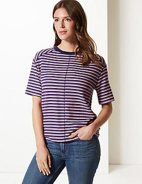 Striped Round Neck Short Sleeve T-Shirt, MULTI, catlanding