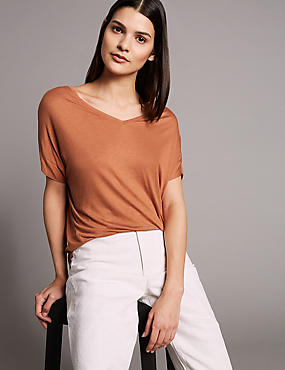 V-Neck Short Sleeve T-Shirt with Silk, BRANDY, catlanding
