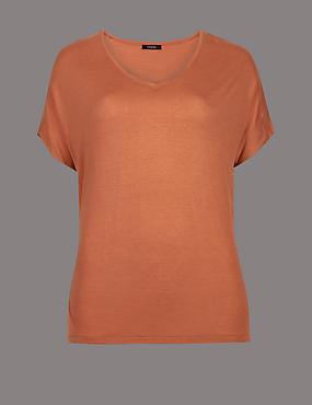 V-Neck Short Sleeve T-Shirt with Silk, BRANDY, catlanding