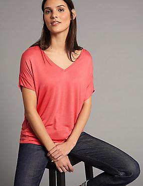 V-Neck Short Sleeve T-Shirt with Silk, WATERMELON, catlanding