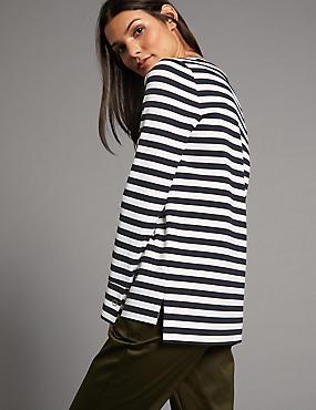 Striped Round Neck Long Sleeve T-Shirt, NAVY MIX, catlanding