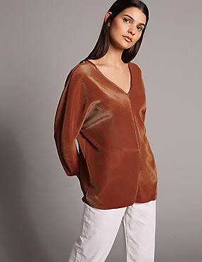 Plisse V-Neck Long Sleeve Top, BRANDY, catlanding