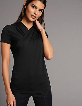 Modal Rich Twisted Neck Short Sleeve T-Shirt, BLACK, catlanding