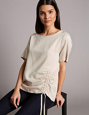 Drawstring Front Short Sleeve Top with Linen, CHAMPAGNE, catlanding