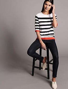 Striped Round Neck Half Sleeve T-Shirt, FLAME, catlanding