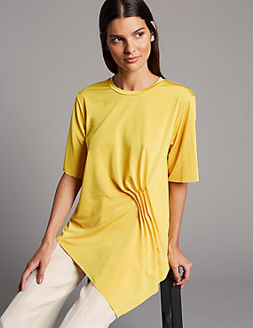 Side Ruched Round Neck Short Sleeve Top , YELLOW, catlanding