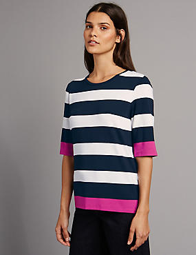 Block Striped Half Sleeve T-Shirt