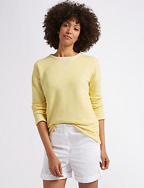 Cotton Rich Striped Lightweight Sweatshirt, YELLOW MIX, catlanding