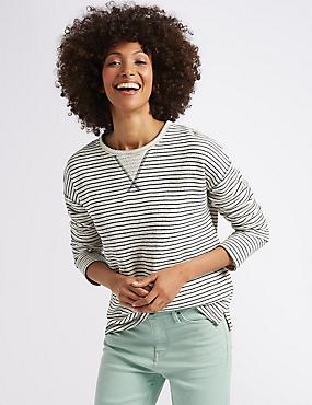 Cotton Rich Striped Lightweight Sweatshirt, IVORY MIX, catlanding