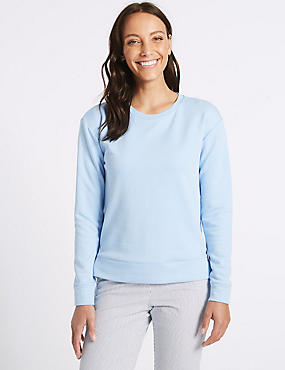 Cotton Rich Round Neck Long Sleeve Top , BLUE, catlanding