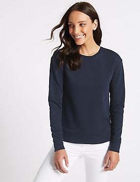 Cotton Rich Round Neck Long Sleeve Top , NAVY, catlanding