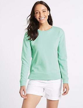 Cotton Rich Round Neck Long Sleeve Top , GREEN, catlanding