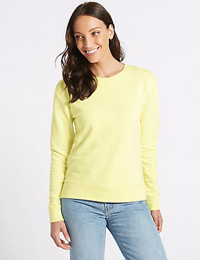 Cotton Rich Long Sleeve Sweatshirt, LIGHT CITRUS, catlanding