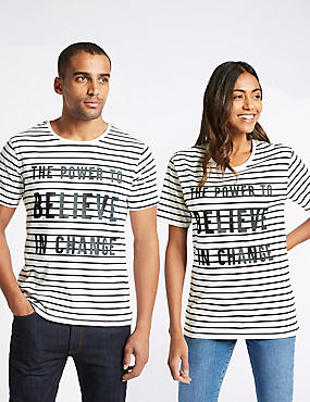 Unisex Pure Cotton Charity Striped Slogan T-Shirt, NAVY MIX, catlanding