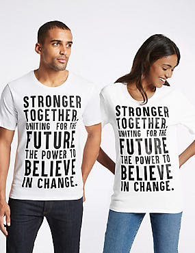 Unisex Pure Cotton Charity Slogan Short Sleeve T-Shirt, WHITE, catlanding