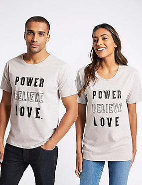 Unisex Pure Cotton Charity Slogan Short Sleeve T-Shirt, GREY MARL, catlanding