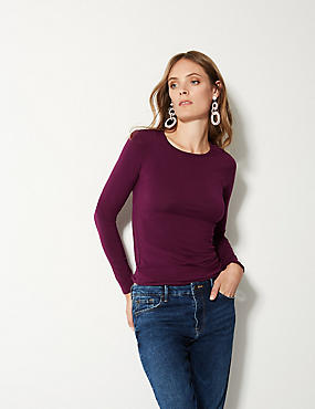 Modal Rich Round Neck Long Sleeve T-Shirt , PLUM, catlanding