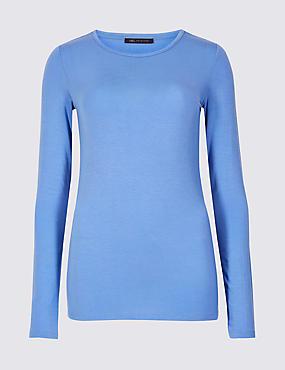 Modal Rich Round Neck Long Sleeve T-Shirt , CORNFLOWER, catlanding