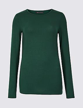 Modal Rich Round Neck Long Sleeve T-Shirt , EMERALD, catlanding