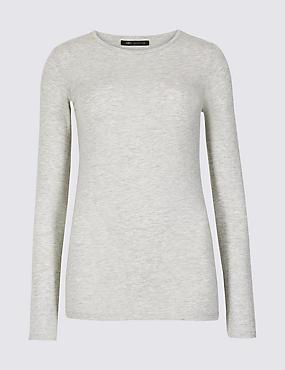 Modal Rich Round Neck Long Sleeve T-Shirt , GREY MARL, catlanding