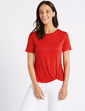 Knot Front Round Neck Short Sleeve T-Shirt , BRIGHT RED, catlanding