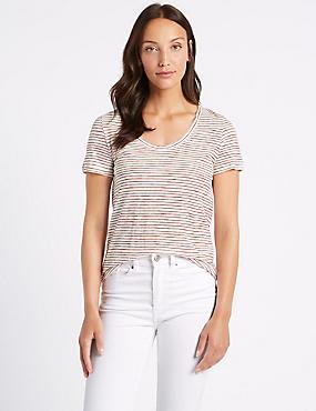 Pure Cotton Striped Short Sleeve T-Shirt , CREAM MIX, catlanding