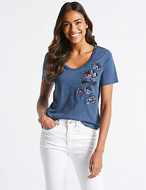 Cotton Rich Embroidered Short Sleeve T-Shirt, BLUE MIX, catlanding