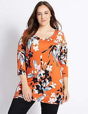 PLUS Floral Print 3/4 Sleeve Tunic