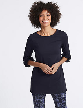 Cotton Rich Ruffle Cuff 3/4 Sleeve Tunic , NAVY, catlanding