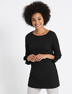 Cotton Rich Ruffle Cuff 3/4 Sleeve Tunic