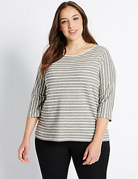 PLUS Cotton Rich Striped 3/4 Sleeve T-Shirt