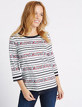 PETITE Pure Cotton Floral Striped T-Shirt