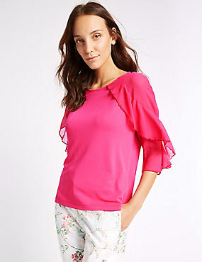 Modal Rich Ruffle Sleeve Jersey Top