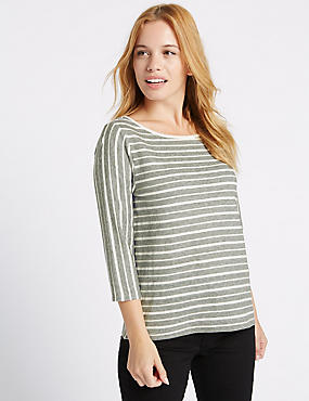 PETITE Striped 3/4 Sleeve T-Shirt