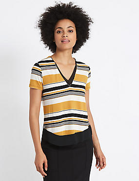 Striped V-Neck Short Sleeve T-Shirt