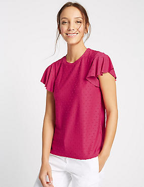 Spotty Frill Short Sleeve T-Shirt
