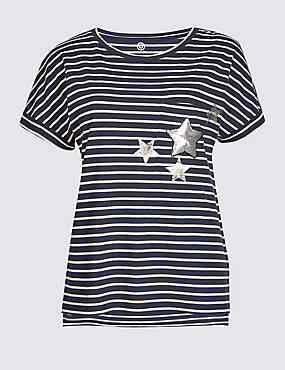 Modal Rich Striped Short Sleeve T-Shirt