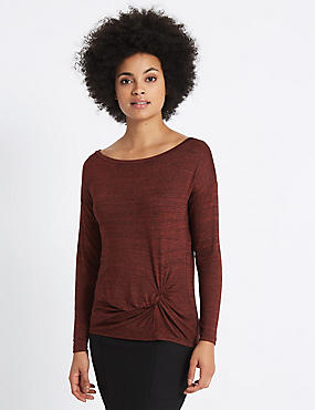 Metallic Knot Front Long Sleeve T-Shirt