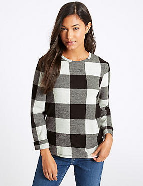 Checked Round Neck Long Sleeve Sweatshirt