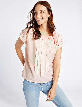 Fringed Front Short Sleeve T-Shirt