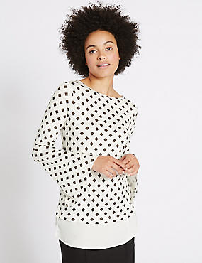 Geometric Print Mock Hem Split Sleeve Tunic