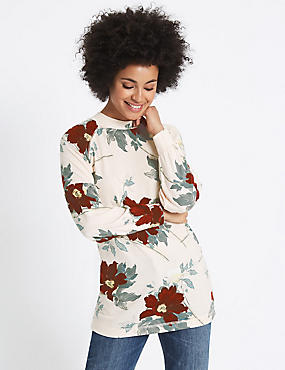 Floral Print Round Neck Long Sleeve Tunic