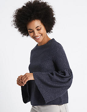 Textured Round Neck Flute Sleeve Sweatshirt