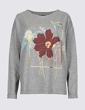 Printed Round Neck Long Sleeve Sweatshirt