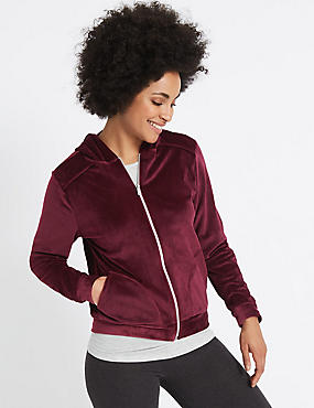 Velour Hooded Neck Long Sleeve Jacket