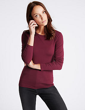 Modal Rich Round Neck Long Sleeve T-Shirt